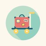 Винтажные чемоданы перемещения, плоский значок с длинной тенью Стоковые Изображения