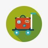 Винтажные чемоданы перемещения, плоский значок с длинной тенью Стоковая Фотография