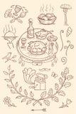 Винтажные элементы ресторана стоковое изображение rf