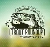 Винтажные эмблемы рыбной ловли форели Стоковое фото RF