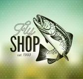 Винтажные эмблемы рыбной ловли форели Стоковое Изображение