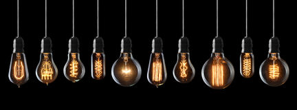 Винтажные электрические лампочки Стоковые Фотографии RF