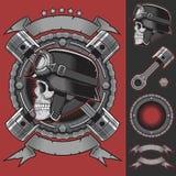 Винтажные элементы дизайна эмблемы велосипедиста Стоковые Изображения RF