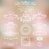 Винтажные элементы и логотипы на светлой предпосылке Иллюстрация штока