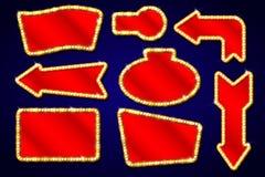 Винтажные элементы с электрическими лампочками, выставка дизайна Лас-Вегас, кинозвезды, рамки, граничат символы вектора Стоковое фото RF