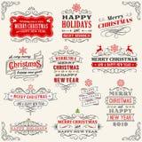 Винтажные ярлыки рождества вектора бесплатная иллюстрация