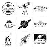 Винтажные ярлыки астрономии иллюстрация вектора