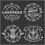 Винтажные ярлыки, значки и дизайн мотоцикла иллюстрация штока