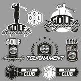 Винтажные ярлыки, значки и эмблемы гольфа Стоковые Изображения