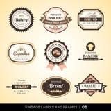 Винтажные ярлыки и рамки логотипа хлебопекарни Стоковое фото RF