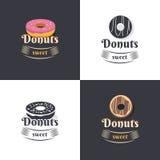 Винтажные donuts логотипов Стоковые Изображения RF