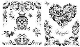 Винтажные elemens дизайна свадьбы для приглашений Стоковые Изображения