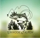 Винтажные salmon эмблемы рыбной ловли Стоковая Фотография RF