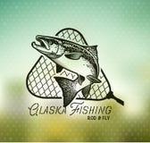 Винтажные salmon эмблемы рыбной ловли Стоковая Фотография