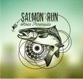 Винтажные salmon эмблемы рыбной ловли Стоковое фото RF