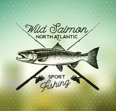 Винтажные salmon эмблемы рыбной ловли Стоковые Изображения