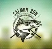 Винтажные salmon эмблемы рыбной ловли Стоковое Изображение RF