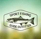 Винтажные salmon эмблемы рыбной ловли Стоковое Изображение