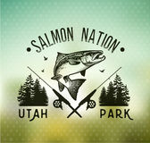 Винтажные salmon эмблемы рыбной ловли Стоковые Фотографии RF