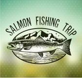 Винтажные salmon эмблемы рыбной ловли Стоковое Фото