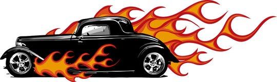 Винтажный автомобиль, гараж горячей штанги, автомобиль hotrods, автомобиль старой школы, иллюстрация штока