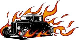 Винтажный автомобиль, гараж горячей штанги, автомобиль hotrods, автомобиль старой школы, иллюстрация вектора