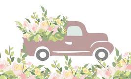 Винтажный автомобиль с цветками Гравировать стиль иллюстрация штока