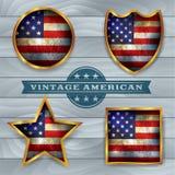 Винтажный американский флаг Emblems иллюстрация Стоковое Изображение RF