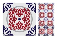 Винтажный античный безшовный дизайн делает по образцу плитки в иллюстрации вектора Стоковое Изображение