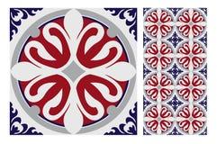 Винтажный античный безшовный дизайн делает по образцу плитки в иллюстрации вектора Стоковые Изображения