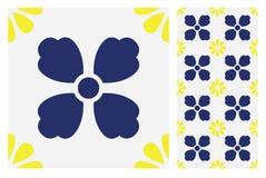Винтажный античный безшовный дизайн делает по образцу плитки в иллюстрации вектора Стоковое Фото