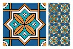Винтажный античный безшовный дизайн делает по образцу плитки в иллюстрации вектора Стоковые Изображения RF