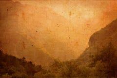 Винтажный ландшафт на текстуре холста Стоковое фото RF
