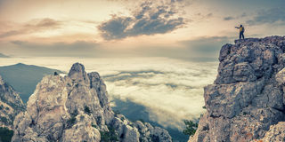 Винтажный ландшафт с человеком Стоковое Фото