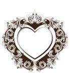 Винтажный барочный вектор карточки формы сердца рамки Линия искусства детальной богатой иллюстрации орнамента графическая бесплатная иллюстрация
