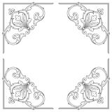 Винтажный барочный орнамент переченя гравировки рамки иллюстрация вектора