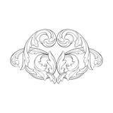 Винтажный барочный орнамент переченя гравировки рамки Стоковое Изображение RF