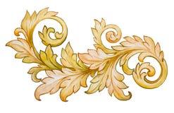 Винтажный барочный флористический золотой вектор орнамента Стоковое Изображение RF