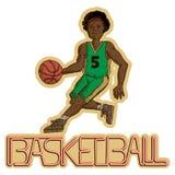 Винтажный баскетболист с баскетболом сочинительства стоковые изображения