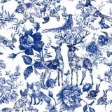 Винтажный безшовный дизайн с флористическим и диким животным Розы картины руки леса сказки вычерченные цветут линия графики бесплатная иллюстрация