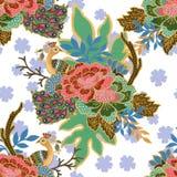 Винтажный безшовный план золота картины с экзотической традиционной флористической гуашью акварели картины птицы павлина иллюстрация вектора