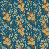 Винтажный безшовный цветочный узор на черной предпосылке Цветки и трава весны Ботаническая иллюстрация вектора yellow Стоковая Фотография RF