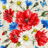 Винтажный букет акварели wildflowers, затрапезный иллюстрация вектора