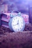 Винтажный будильник и книги Стоковые Изображения RF