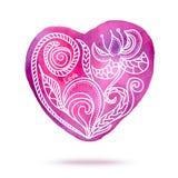 Винтажный вектор дня валентинок акварели Стоковое Изображение RF