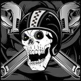 Винтажный вектор эмблемы черепа велосипедиста бесплатная иллюстрация