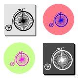 Винтажный велосипед Плоский значок вектора иллюстрация штока