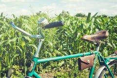 Винтажный велосипед с кожаной коричневой седловиной Летний день для отключения Взгляд пшеничного поля напольно стоковое изображение