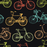 Винтажный велосипед, красочная безшовная предпосылка иллюстрация штока