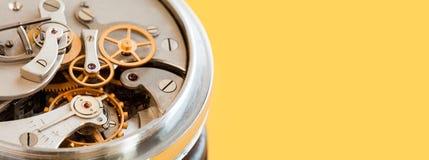 Винтажный взгляд макроса механизма хронометра секундомера, желтая предпосылка Зеленые и желтые листья на стволе дерева скопируйте Стоковые Фото
